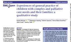 Experiences of general practice of children with complex and palliative care needs and their families: a qualitative study